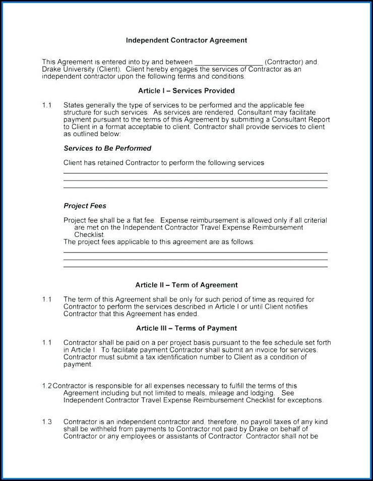 Simple Independent Contractor Agreement Template Ontario