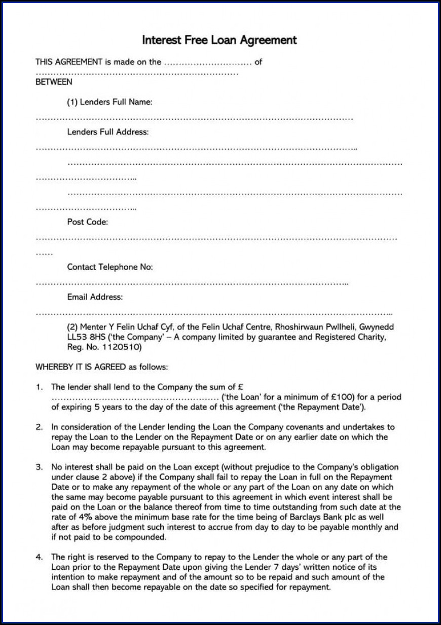 Simple Loan Agreement Template Free Uk