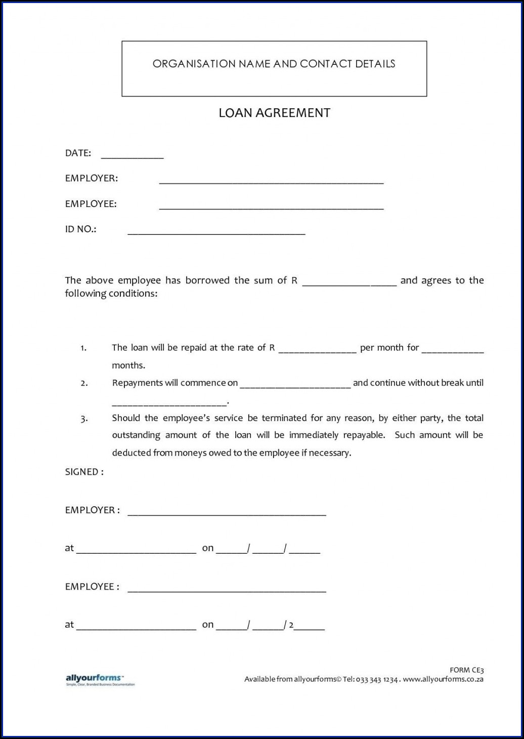 Simple Personal Loan Agreement Template Microsoft Word