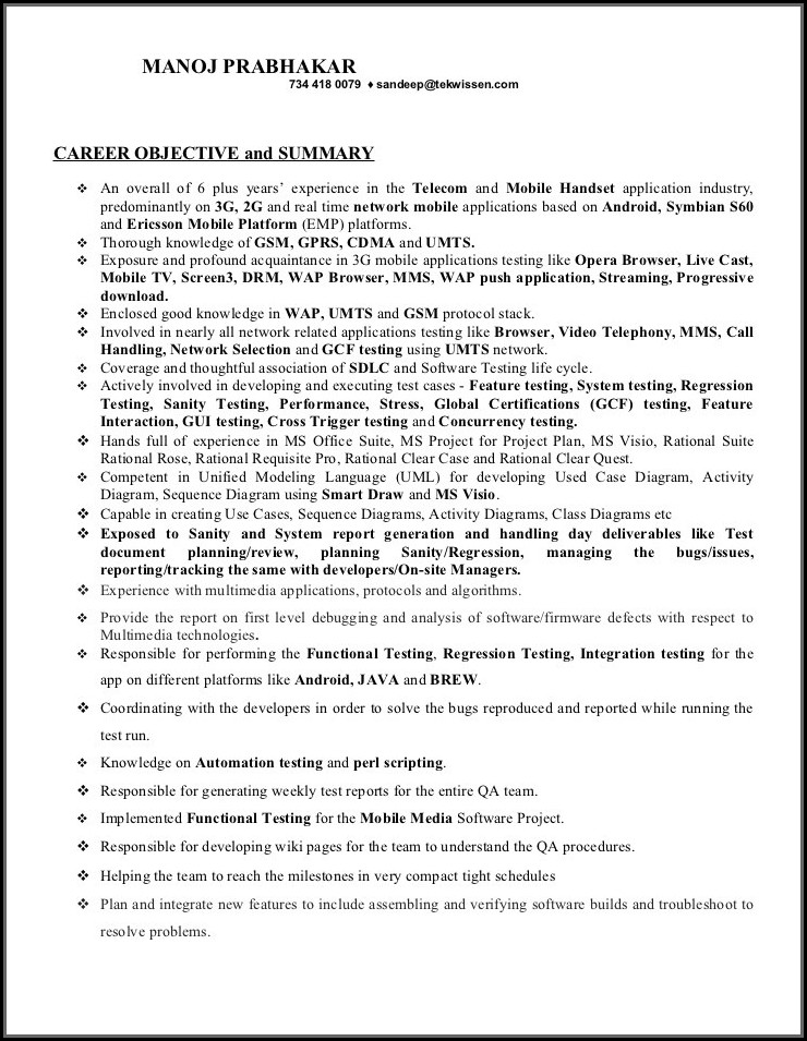 Software Tester Resume Template