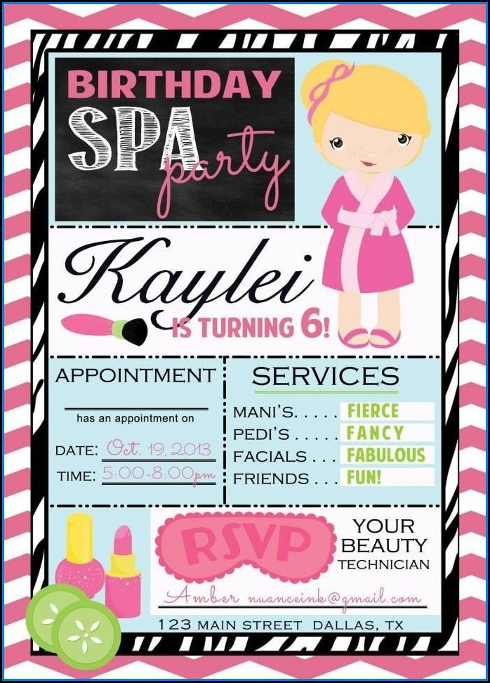 Spa Birthday Party Invitations Templates