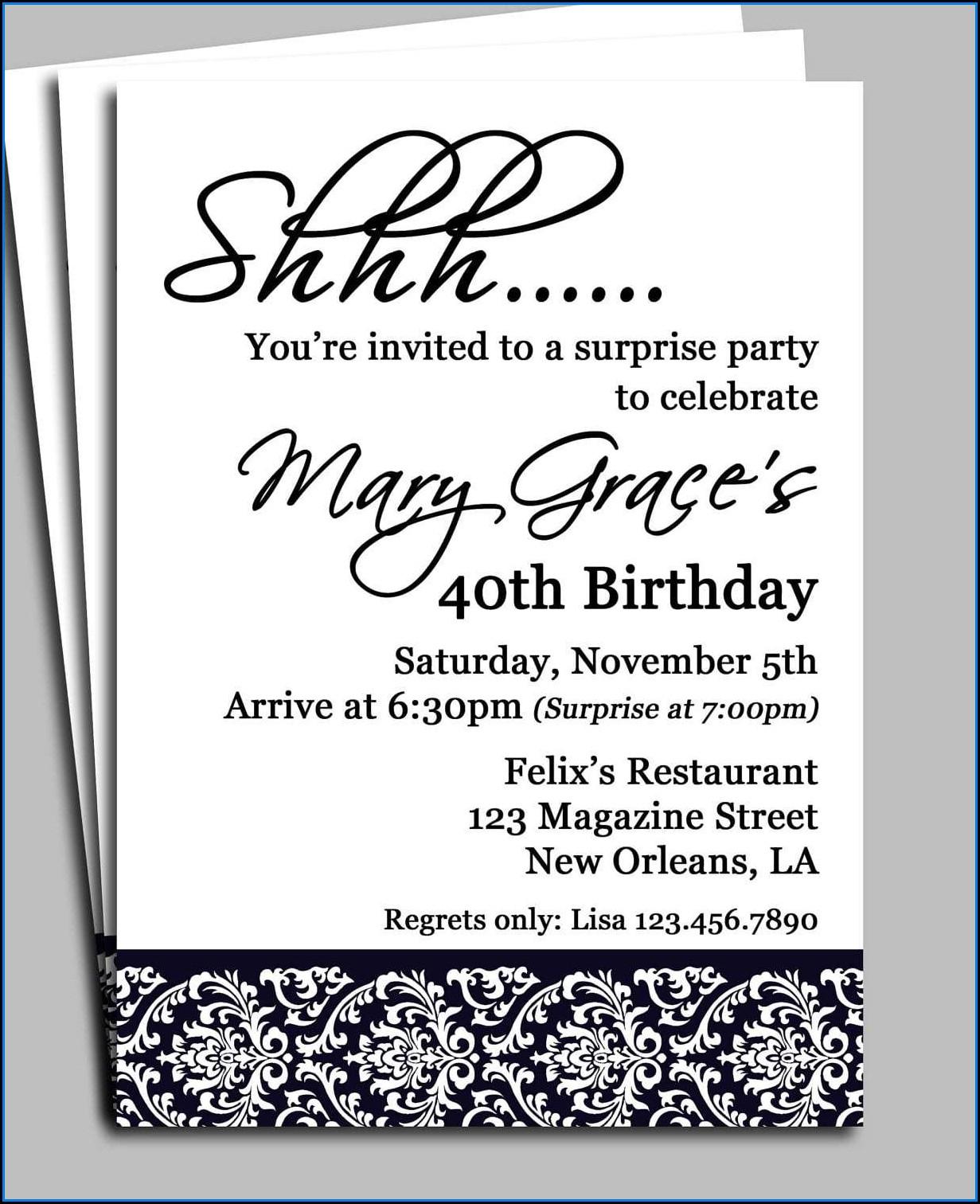 Surprise Birthday Party Invite Template