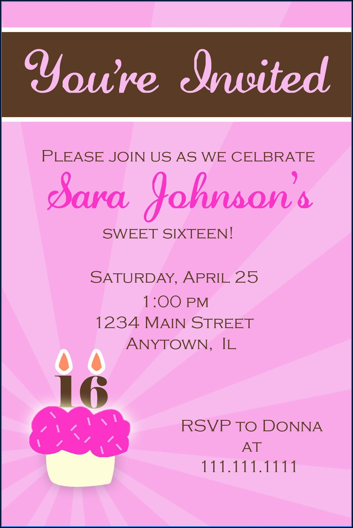 Sweet 16 Party Invitations Templates Free
