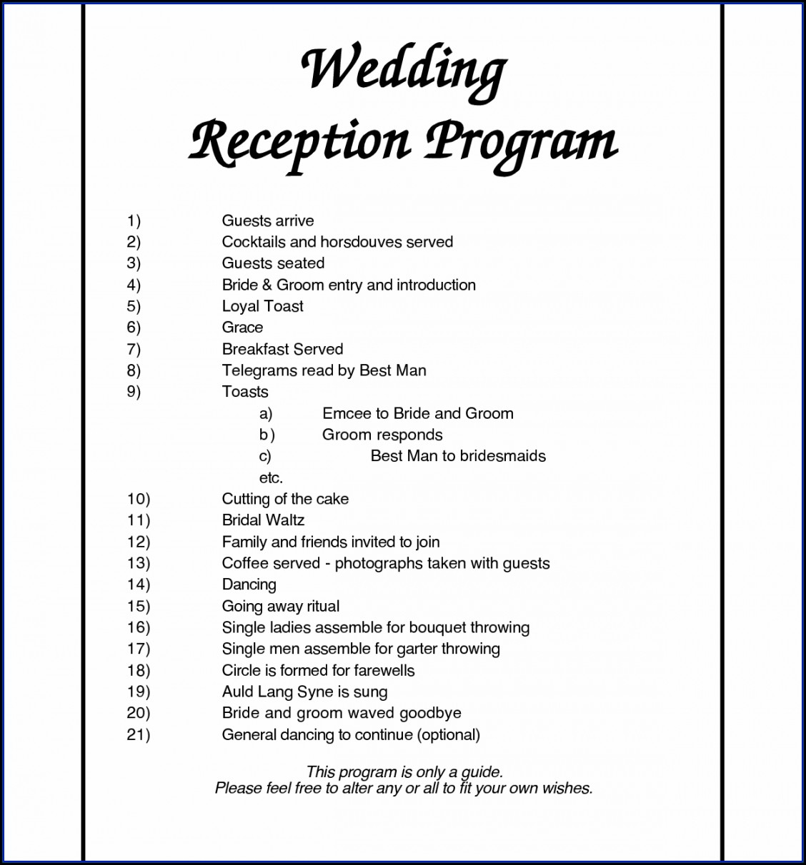 Wedding Agenda Template Free