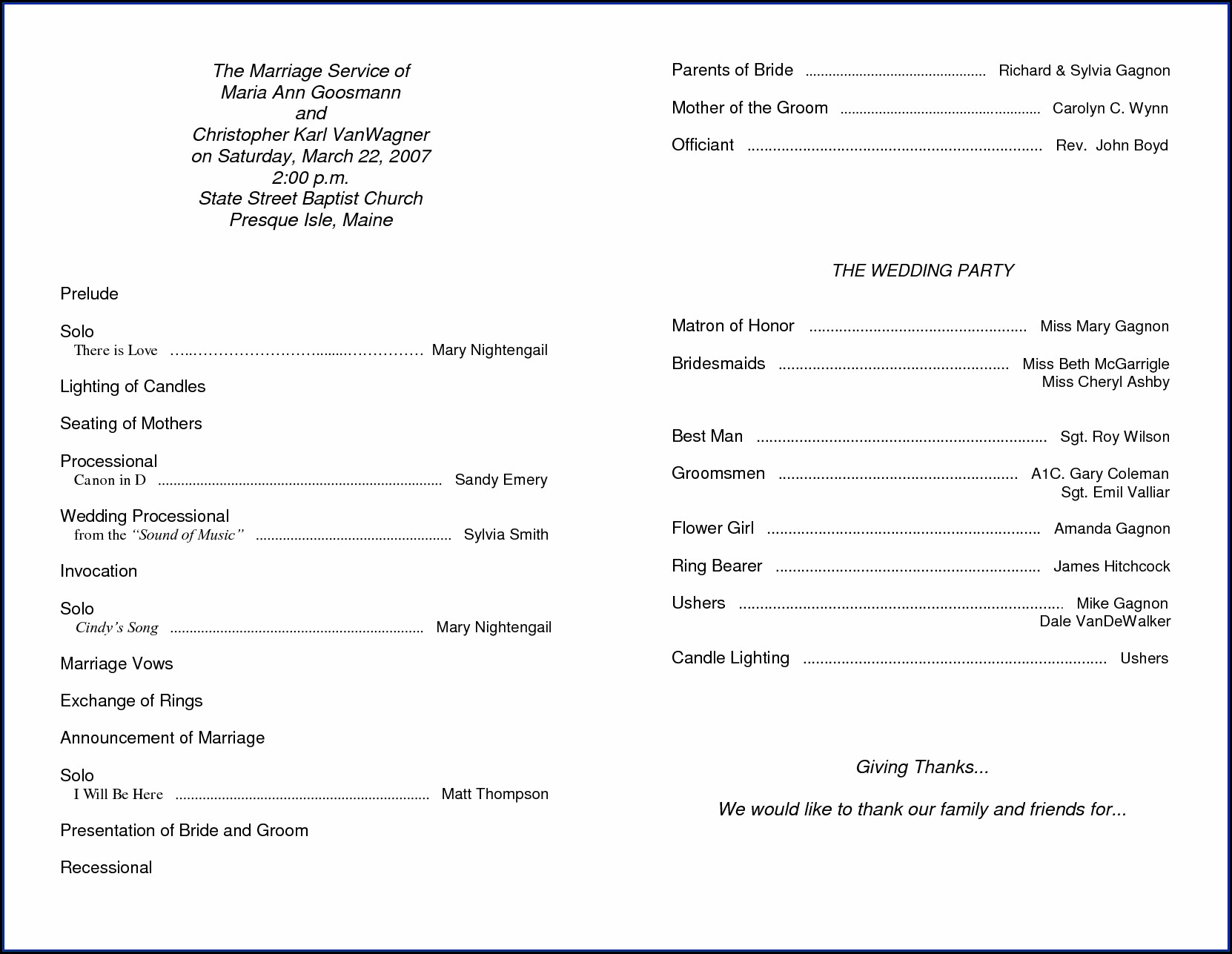 Wedding Ceremony Program Sample