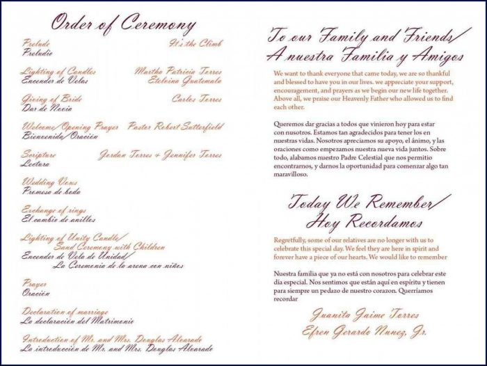 Wedding Ceremony Program Samples One Page
