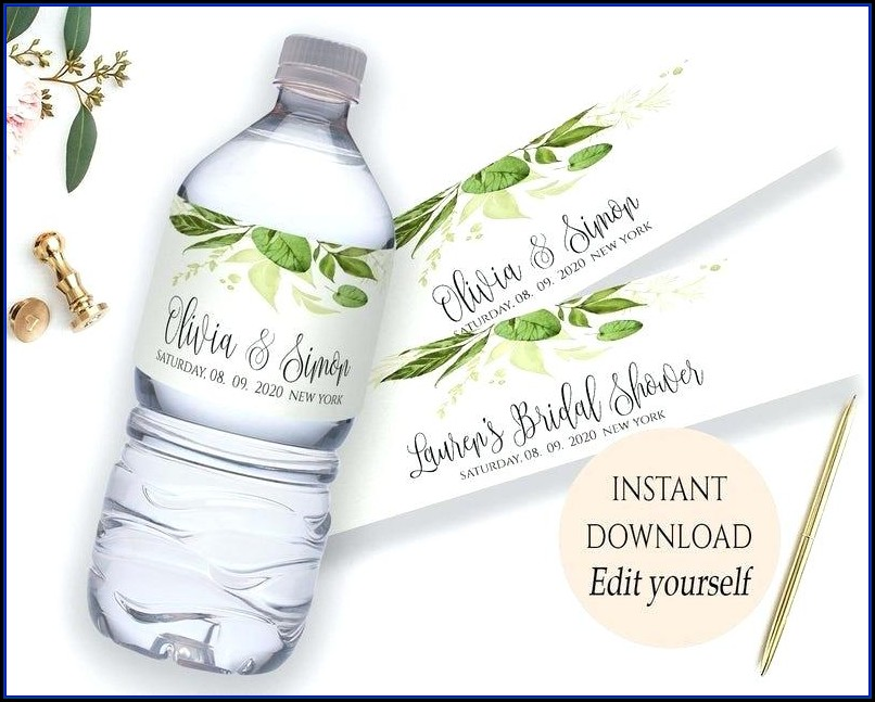 Wedding Label Templates For Water Bottles