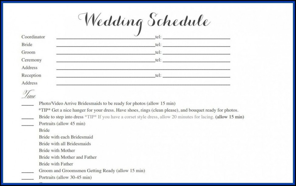 Wedding Timetable Template