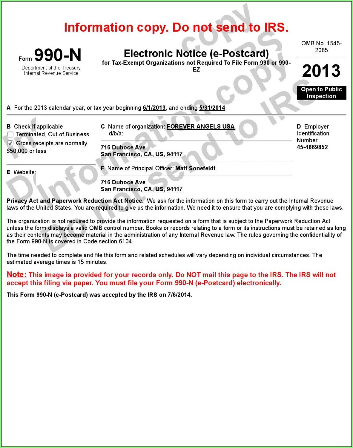 2013 Irs Form 990 N (e Postcard)