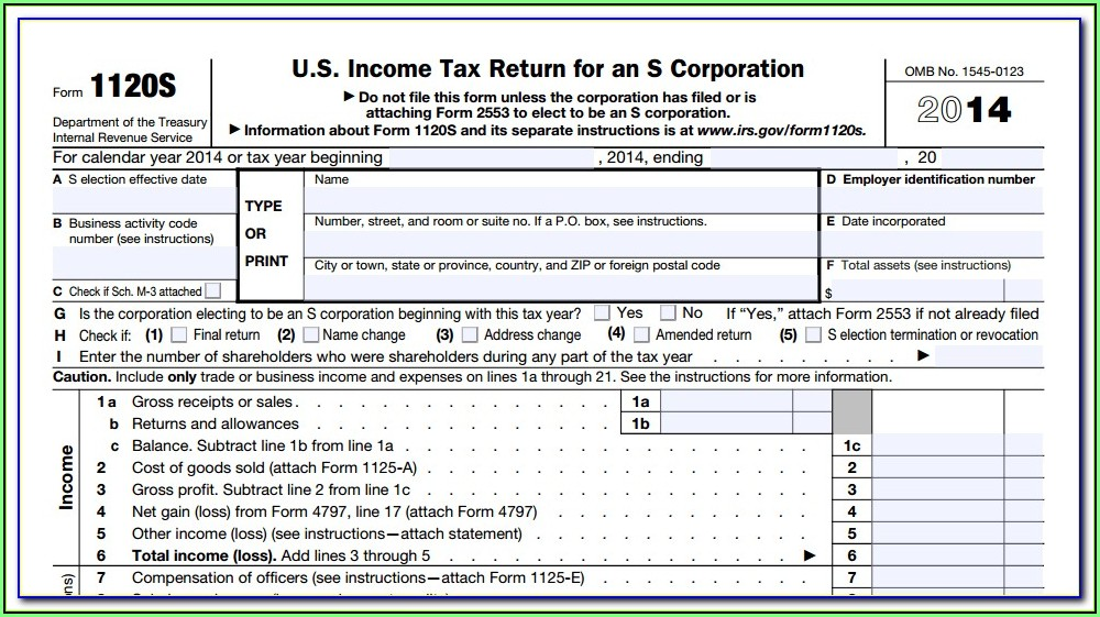 2014 Form 1120s K 1 Instructions
