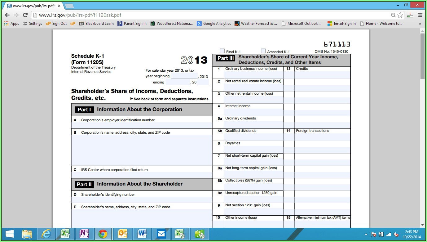 2014 Form 1120s Schedule K 1