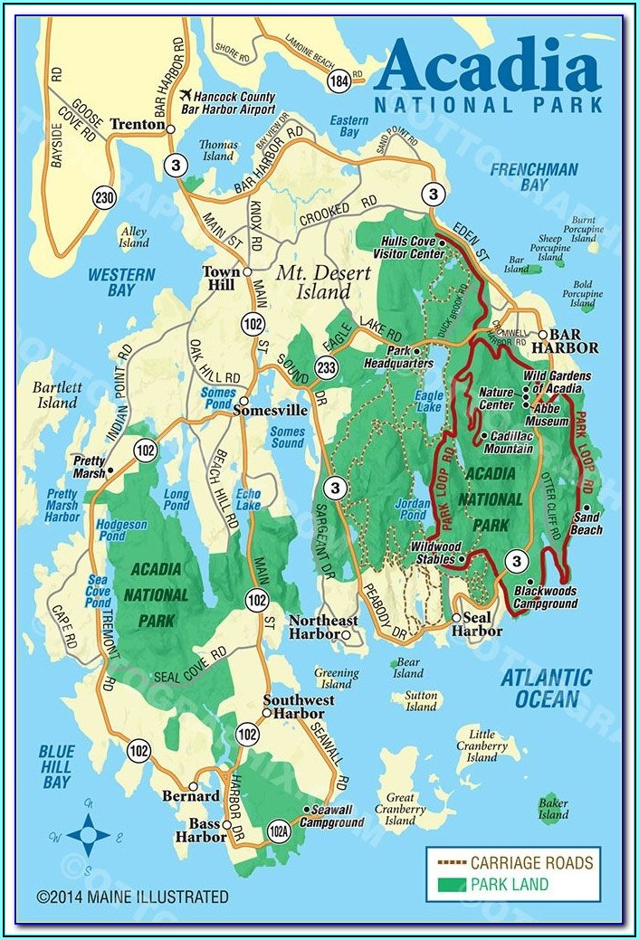 Acadia National Park Maps Hiking Trails