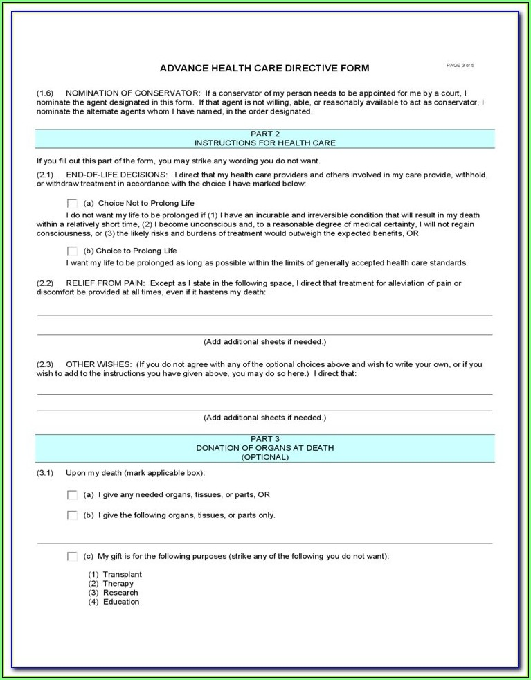 Advance Health Care Directive Form California 2018