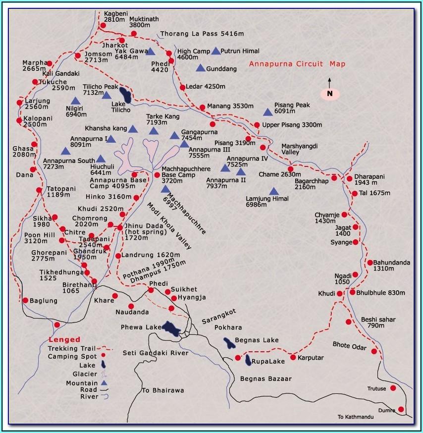 Annapurna Circuit Trail Map