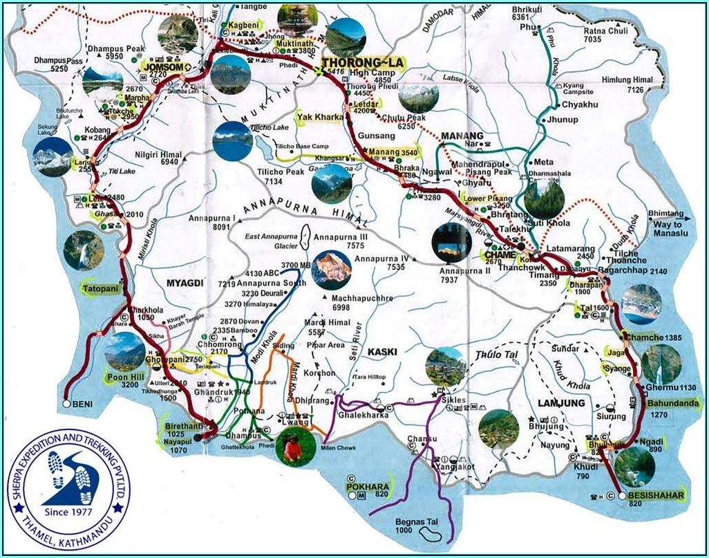 Annapurna Circuit Trekking Map
