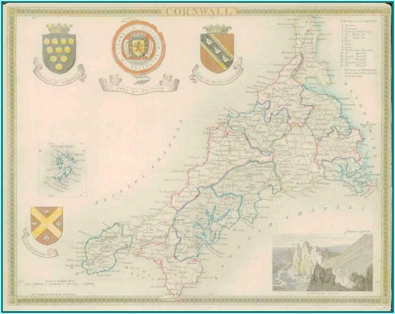 Antique Maps Cornwall Ebay