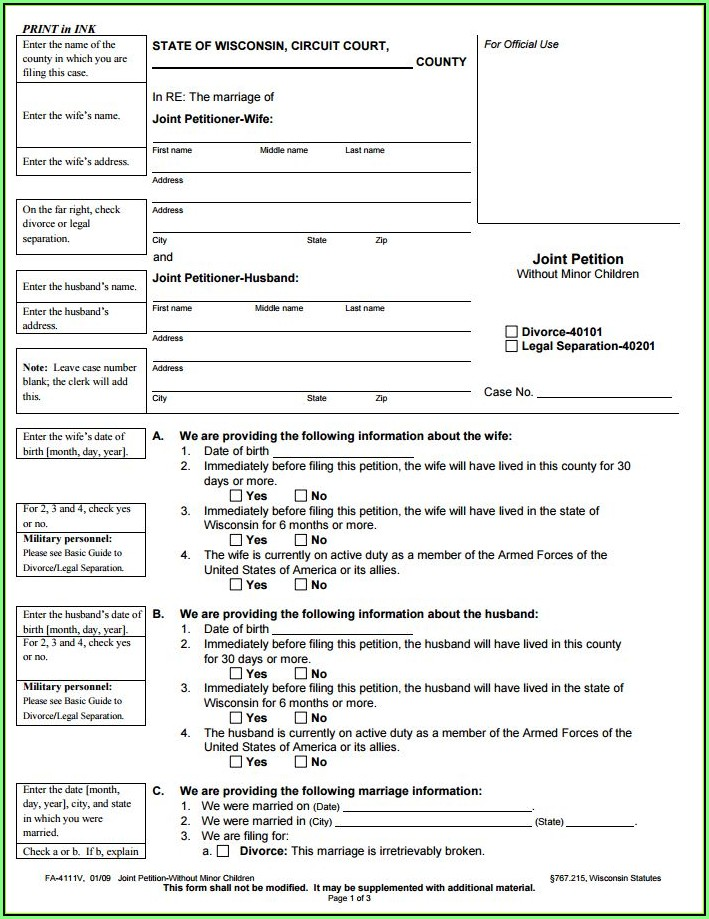 Az State Divorce Forms