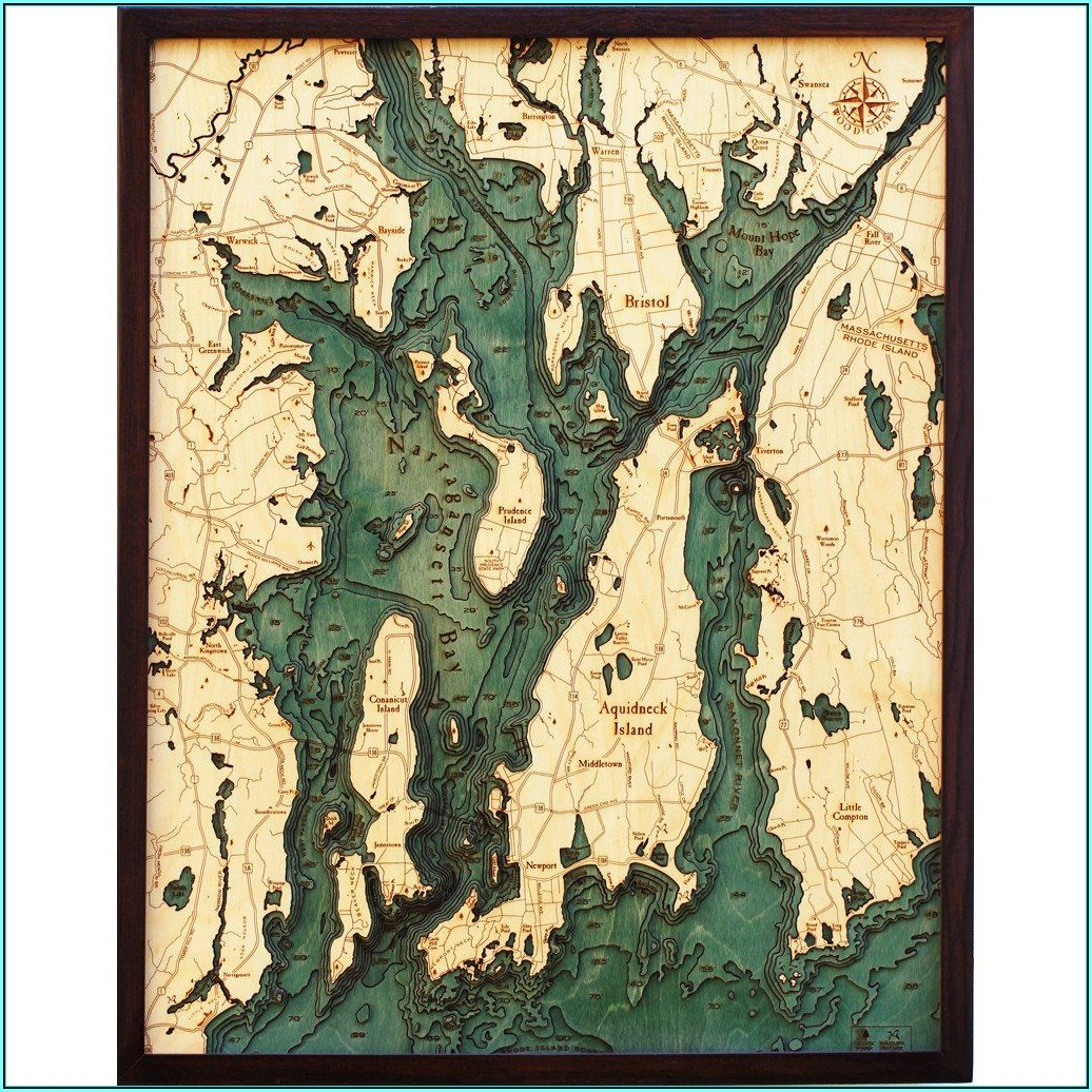 Bathymetric Map Wall Art