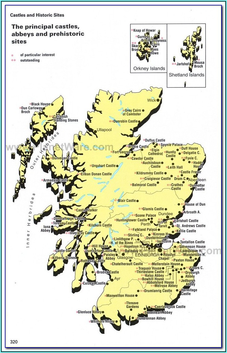 Best Castles Scotland Map