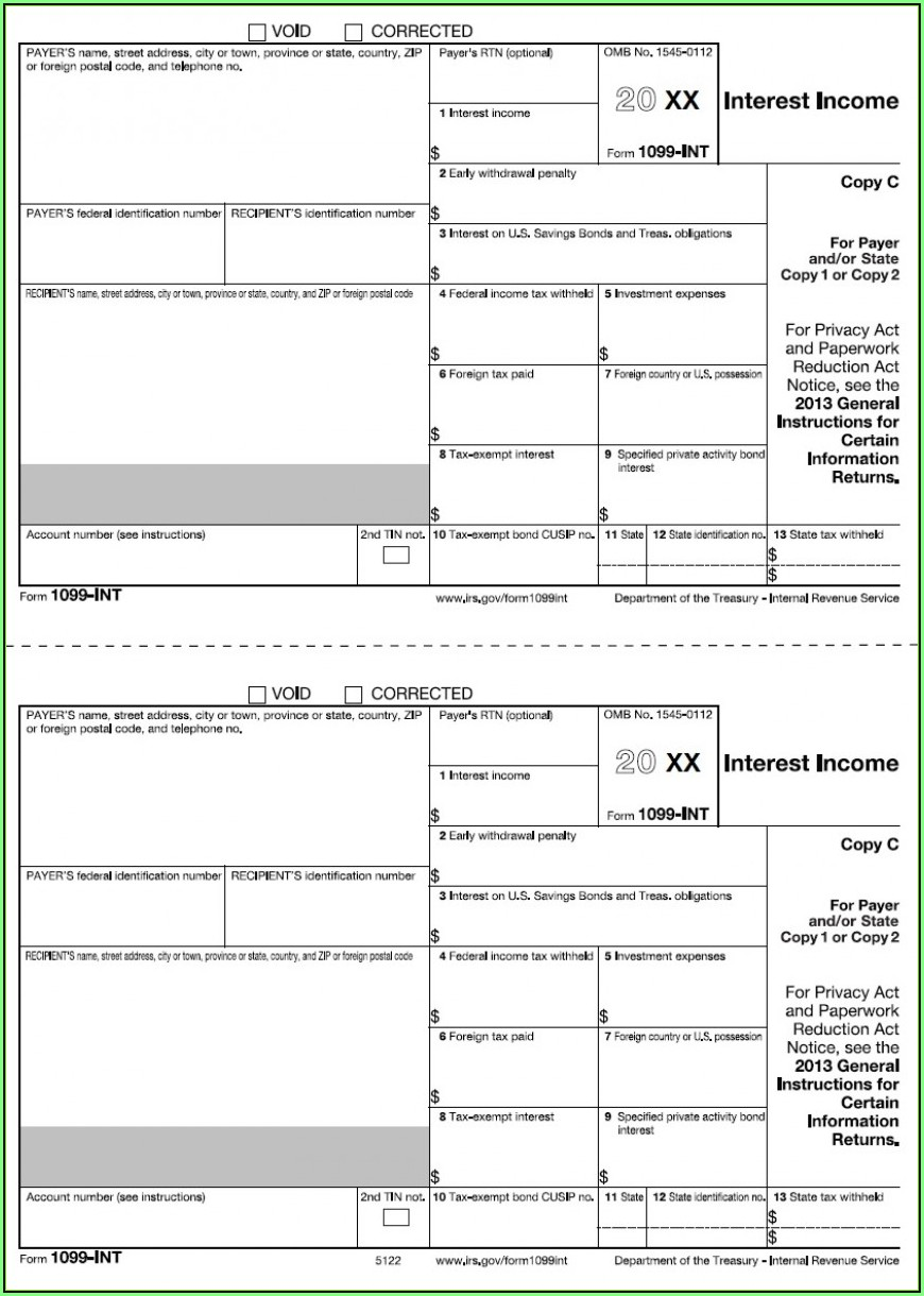 Blank 1099 Misc Form 2018