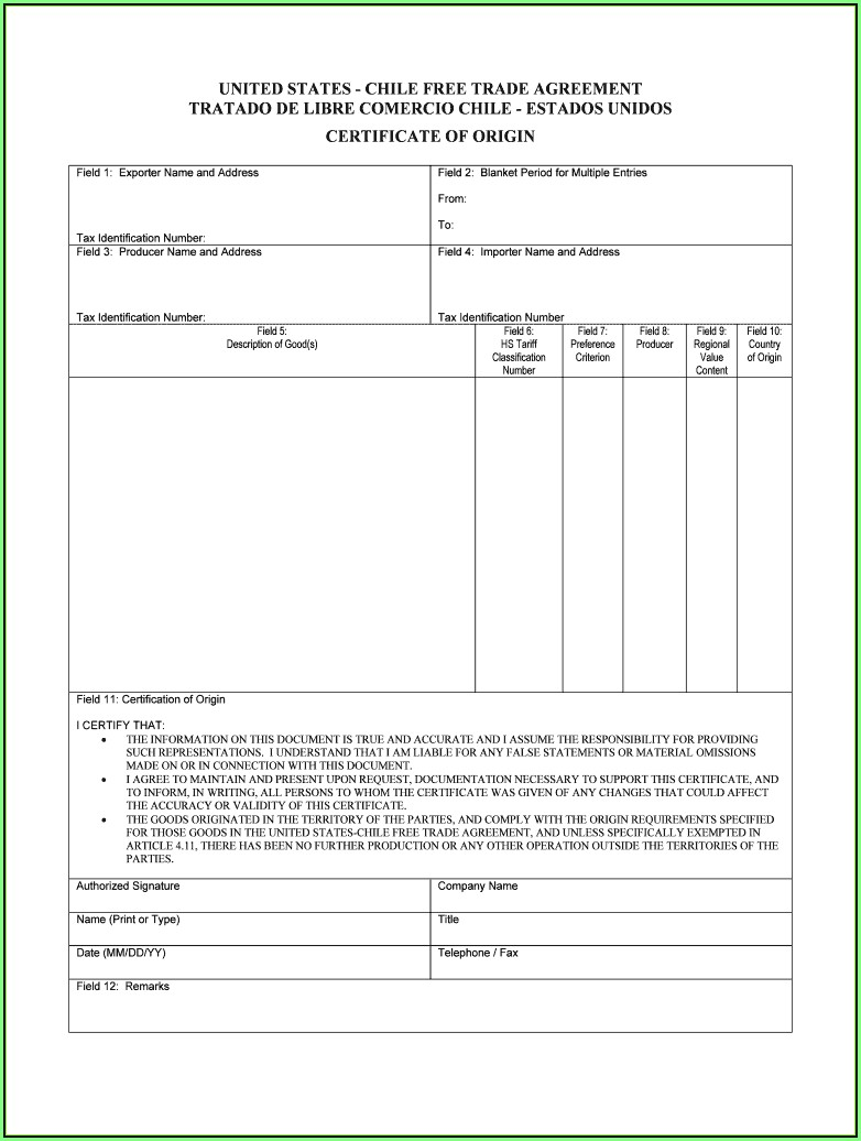 Blank Certificate Of Origin Form Usa