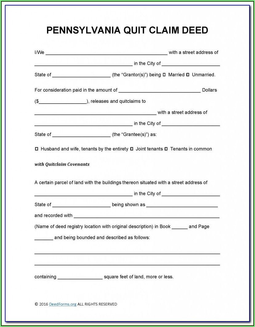 Blank Quit Claim Deed Form Pa