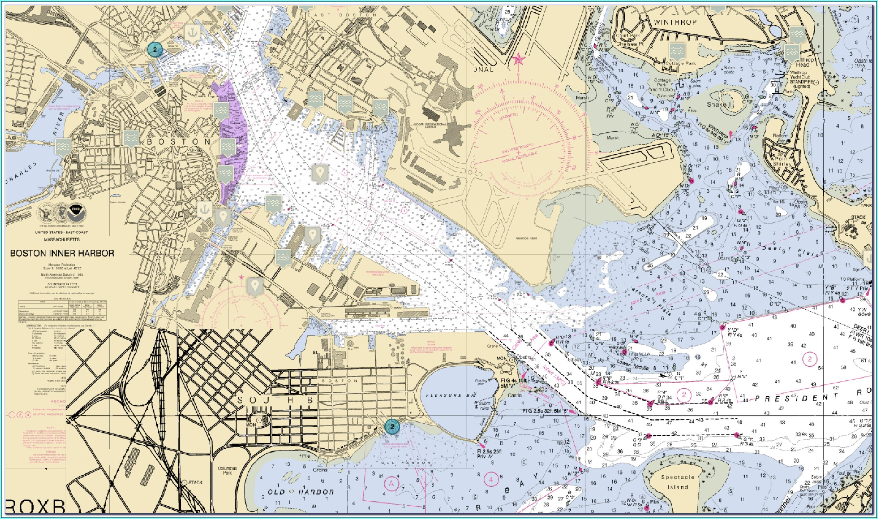 Boston Harbor Nautical Map
