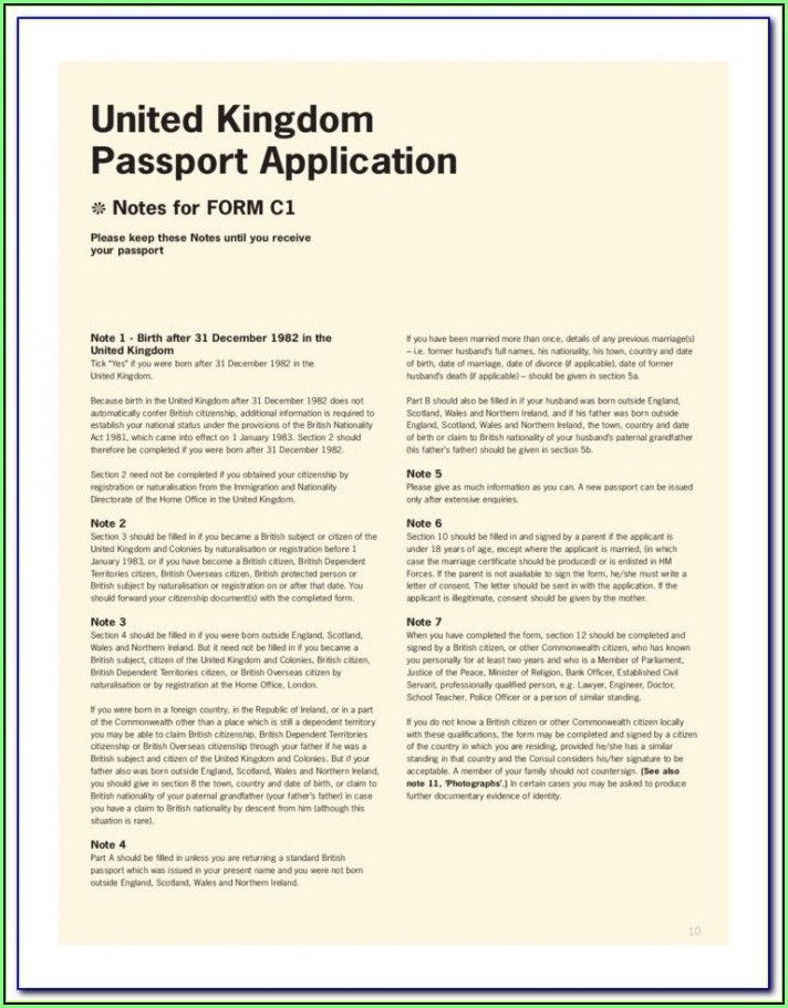 British Passport Application Form Download Renewal