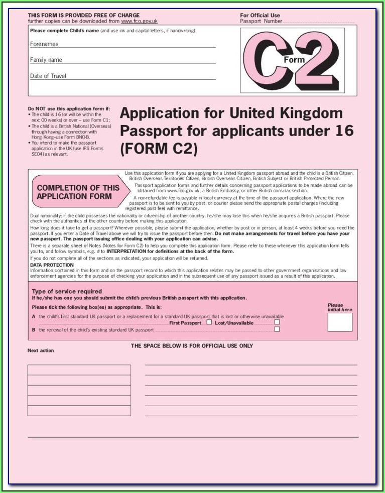 British Passport Renewal Form C1 Download