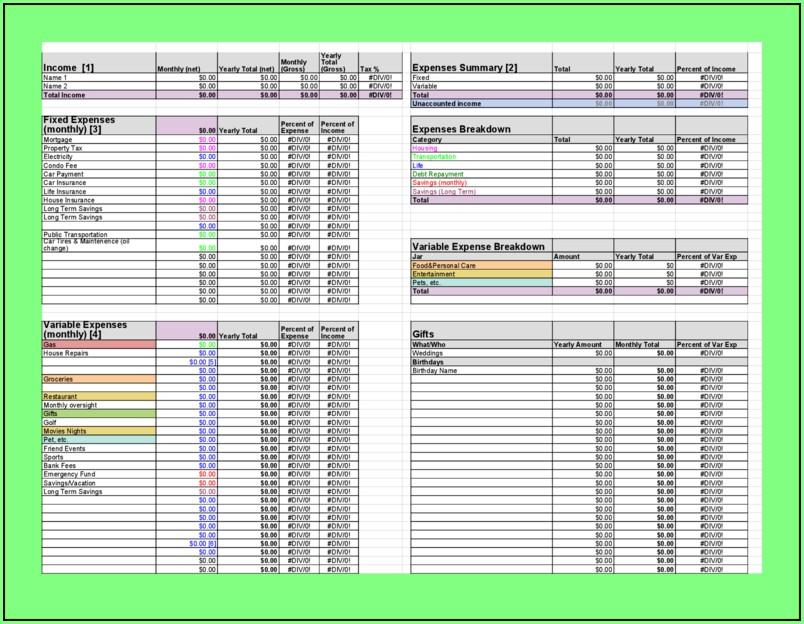 Budget Forms Templates Printable