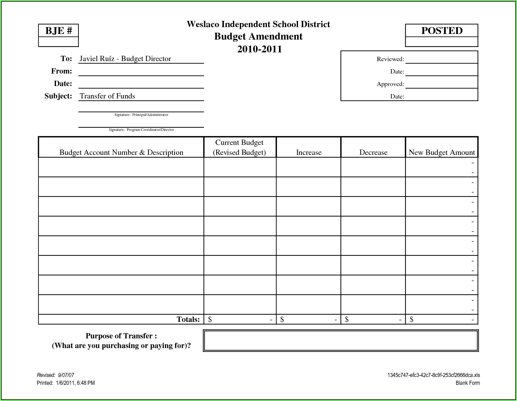 Budget Forms Templates