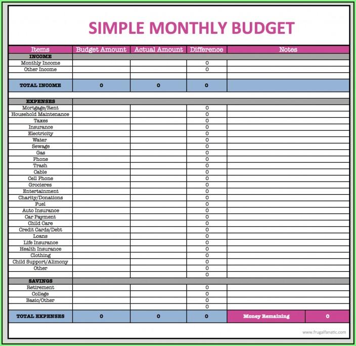 Budget Sheet Templates Printable
