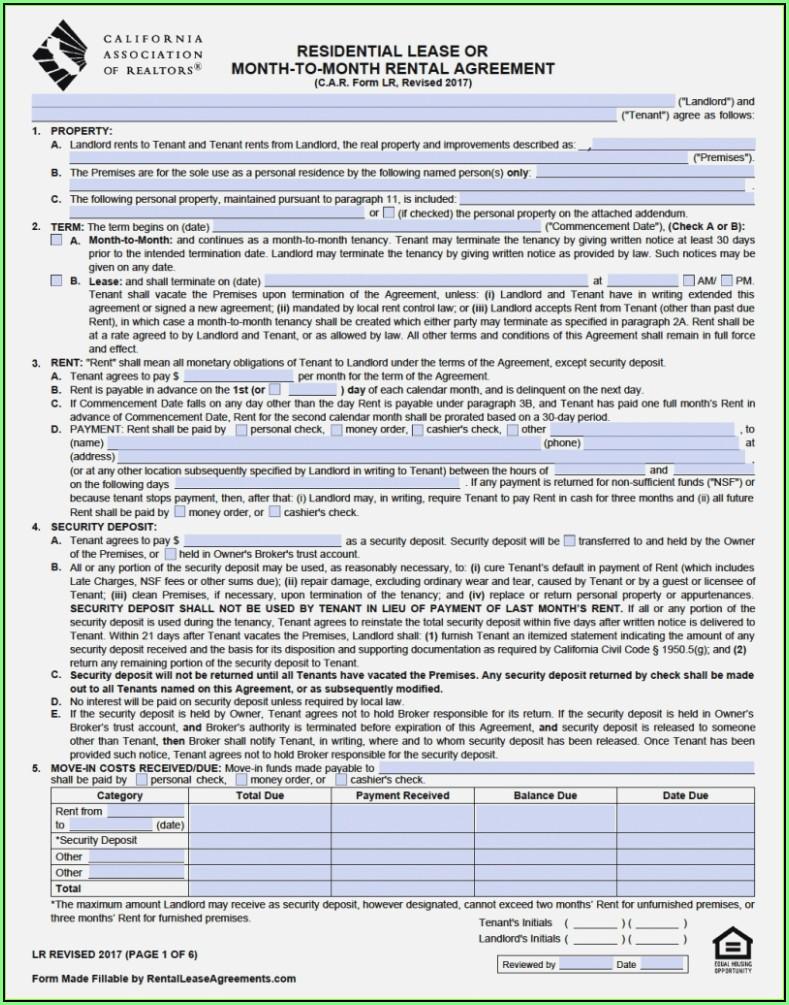 California Rental Lease Agreement Form Pdf