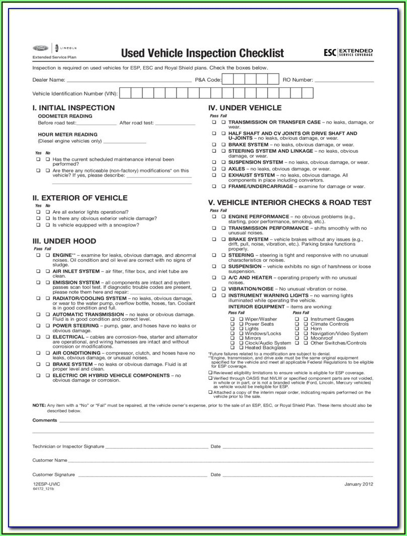 Car Appraisal Form Pdf