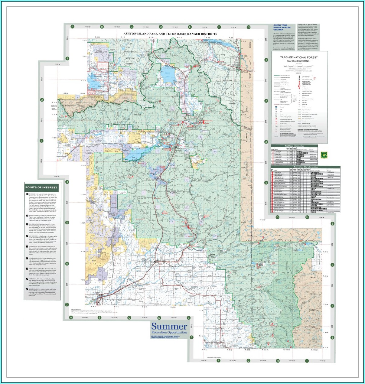 Caribou Targhee National Forest Road Map
