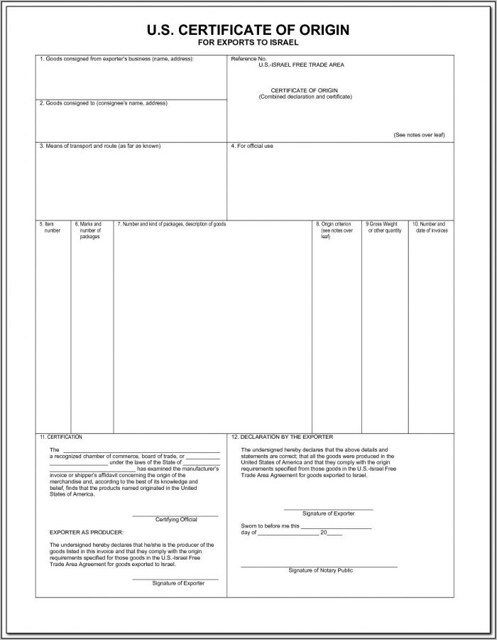 Certificate Of Origin Blank Form