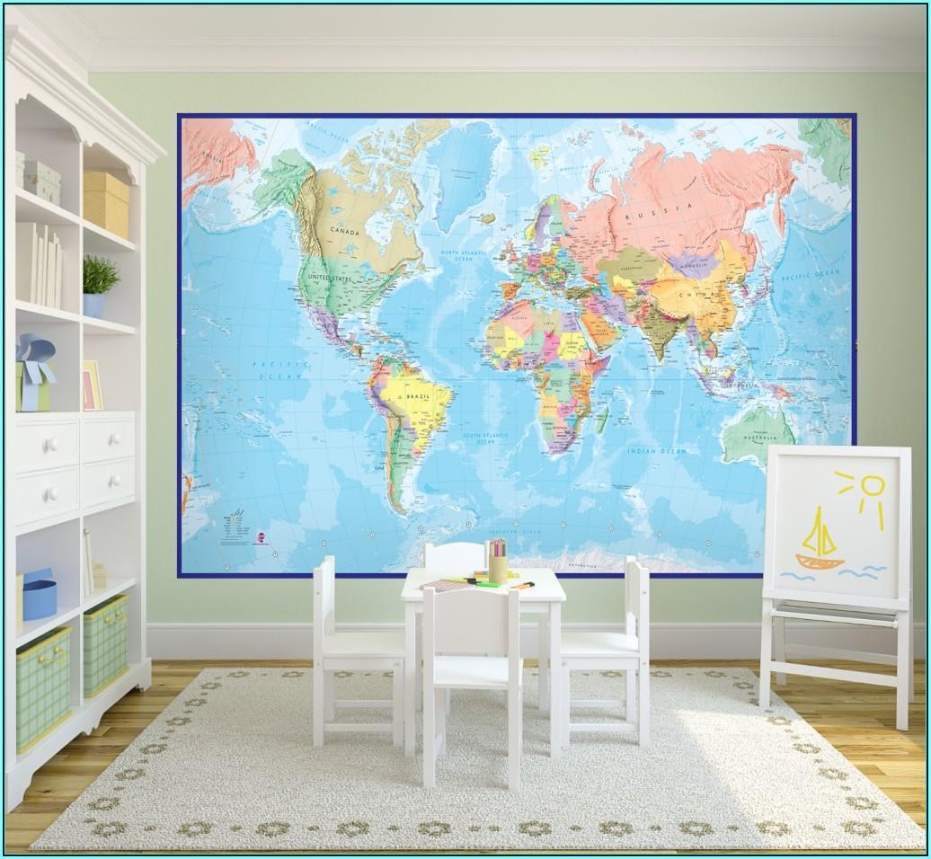 Cheap World Map Mural Wallpaper