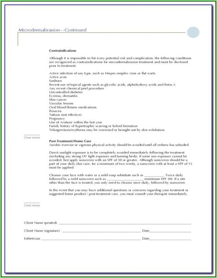 Chemical Peel Consent Form Ascp