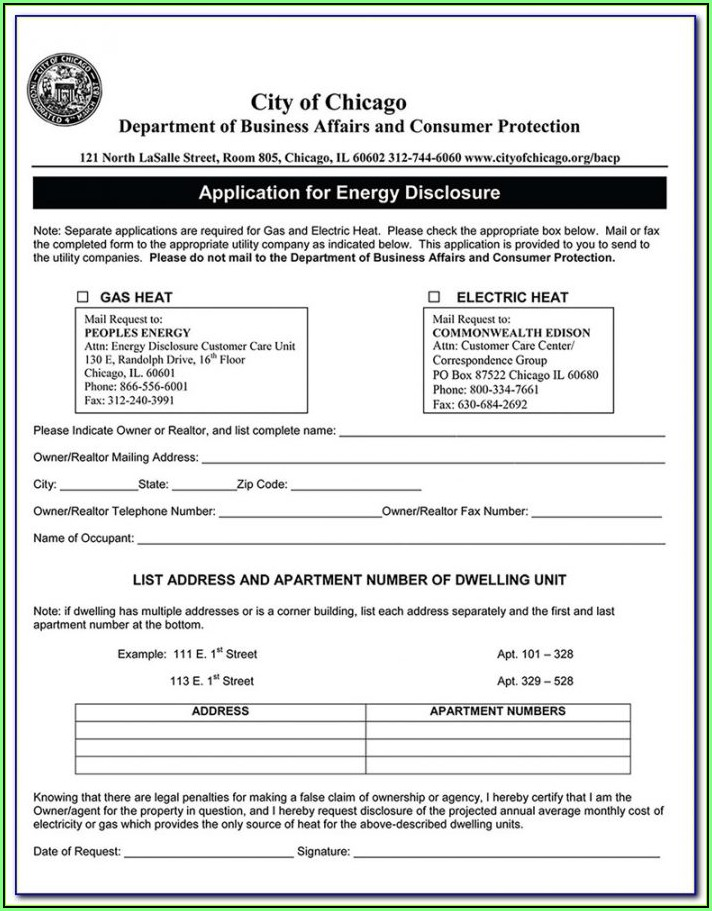 Chicago Apartment Lease Form 2017