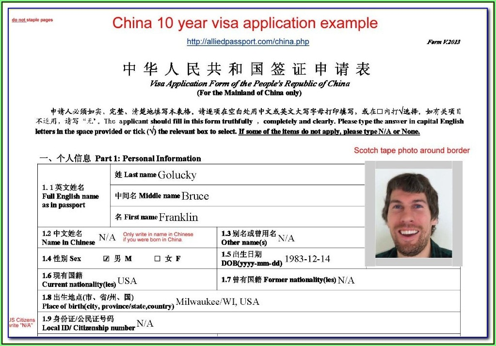 China Tourist Visa Application Form Uk