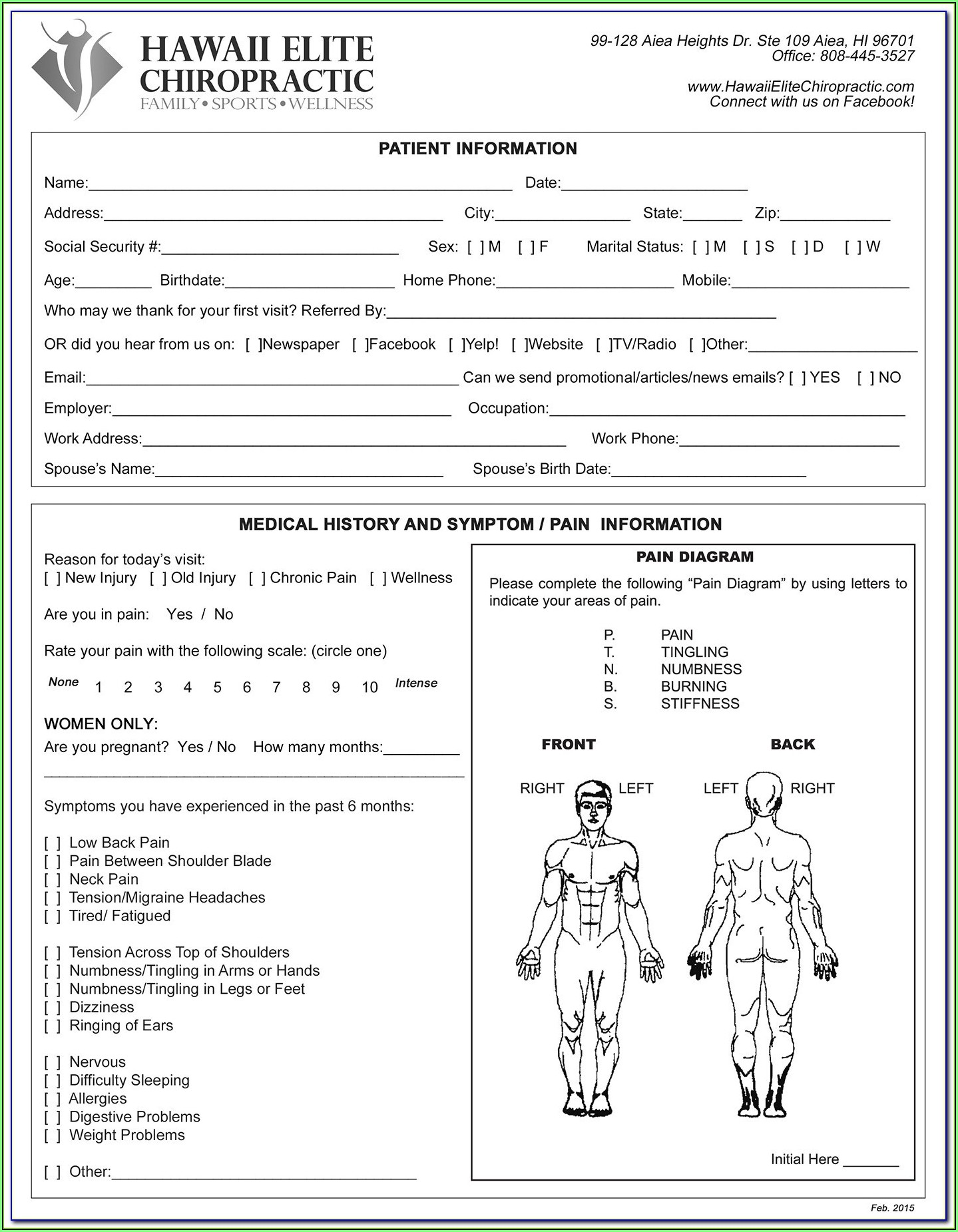 Chiropractic New Patient Forms Template