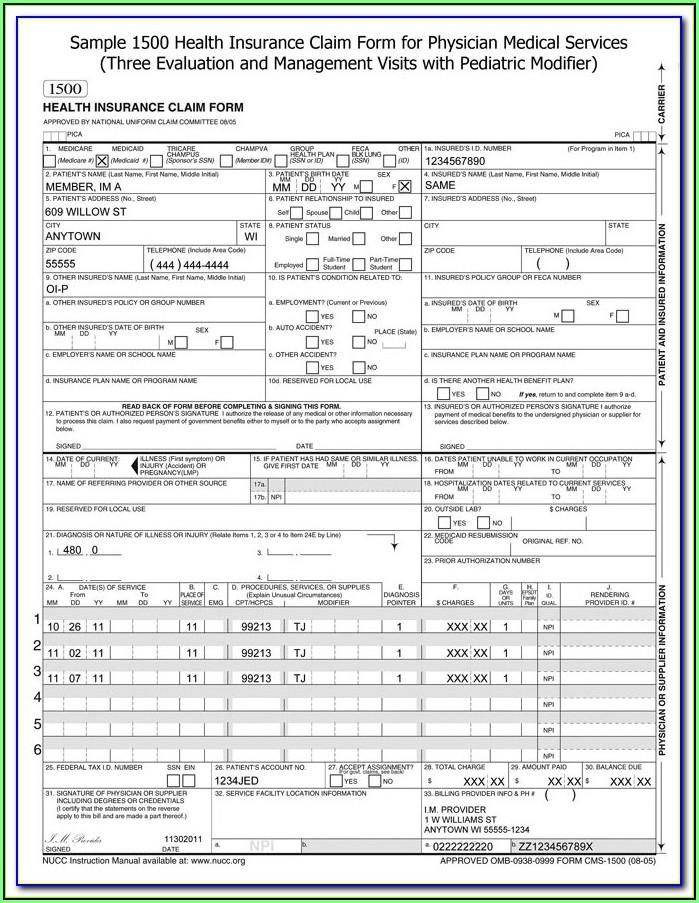 Cms 1500 Form Instructions 2017