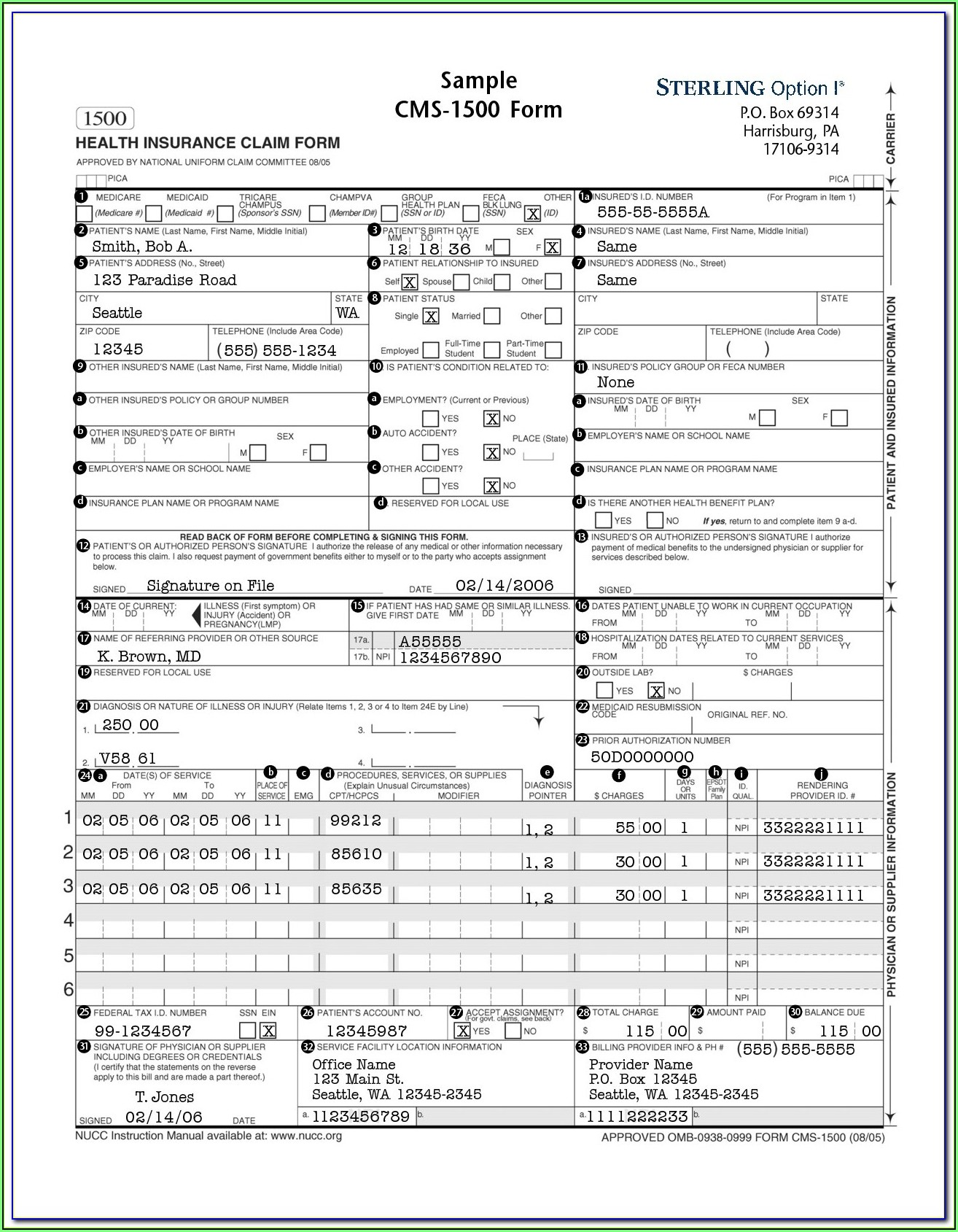 Cms 1500 Form Instructions Medicare