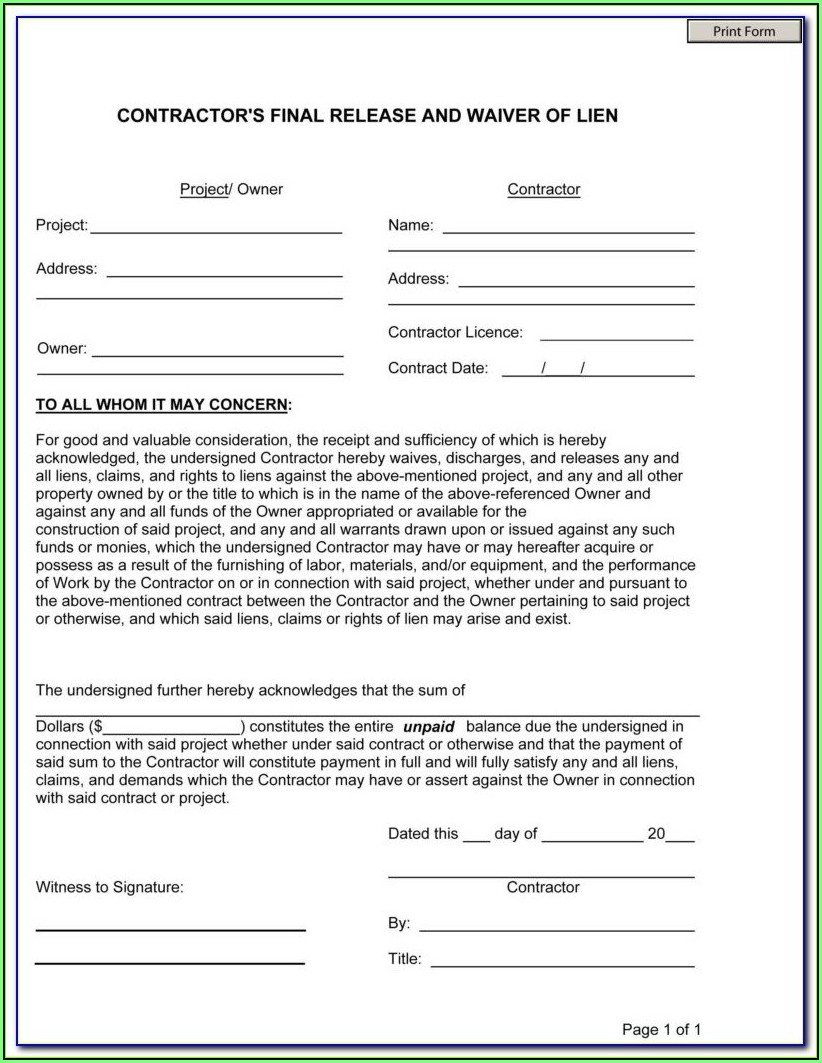 Construction Lien Release Form Oklahoma