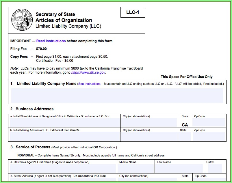 Cost Of Starting An Llc In California