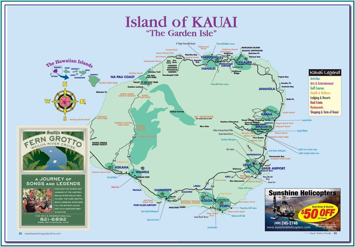 Detailed Map Of Kauai Island
