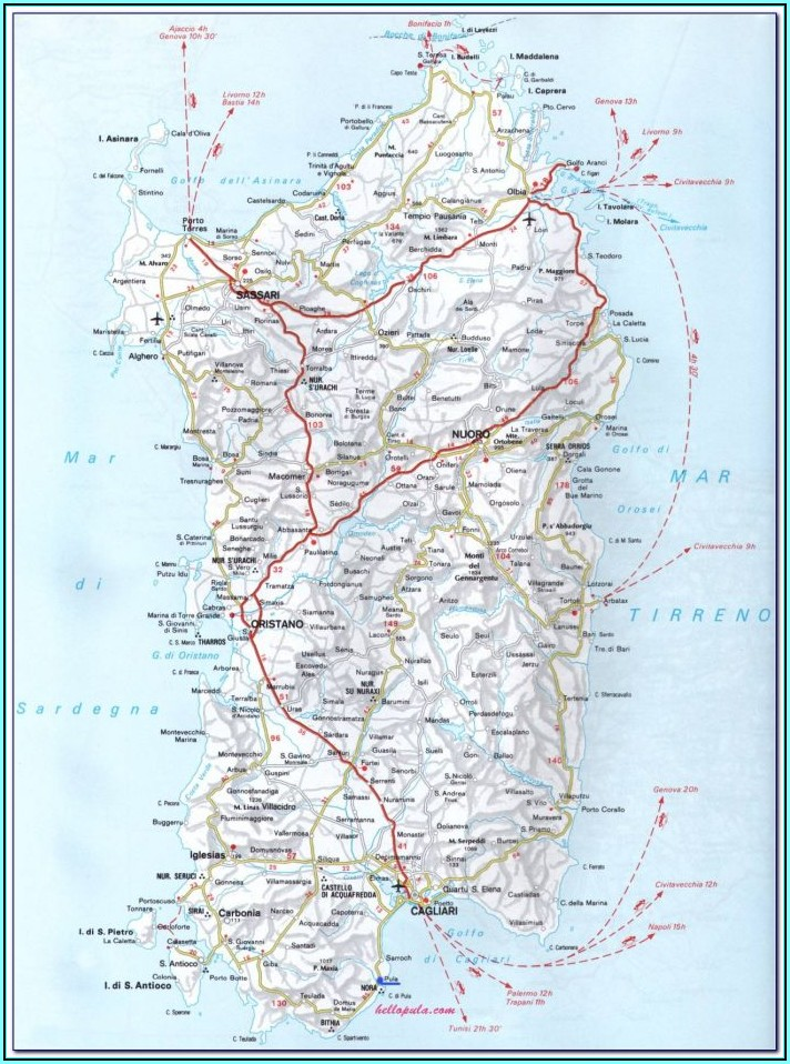 Detailed Road Map Of Sardinia