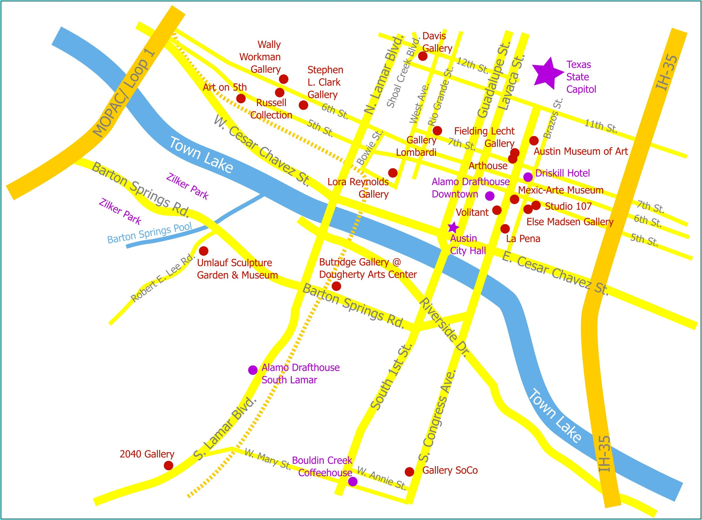 Downtown Austin Hotels Map
