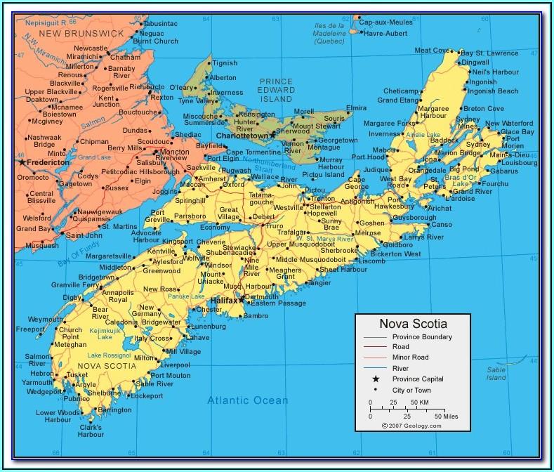 Driving Distance Map Nova Scotia