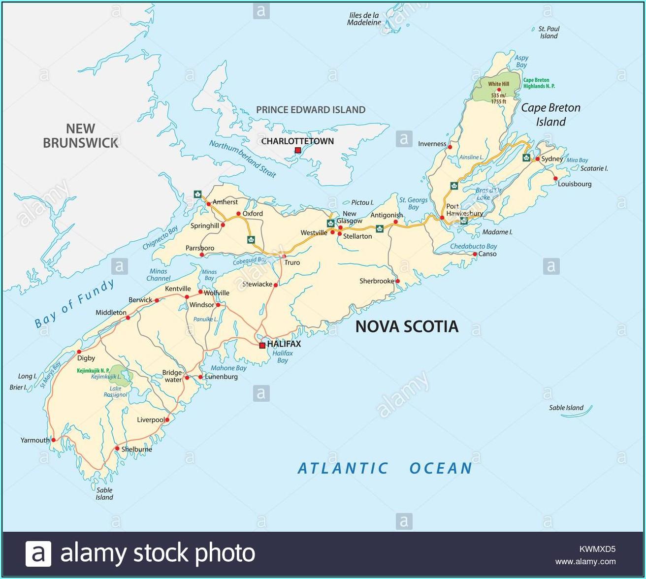 Driving Map Of Nova Scotia And Pei